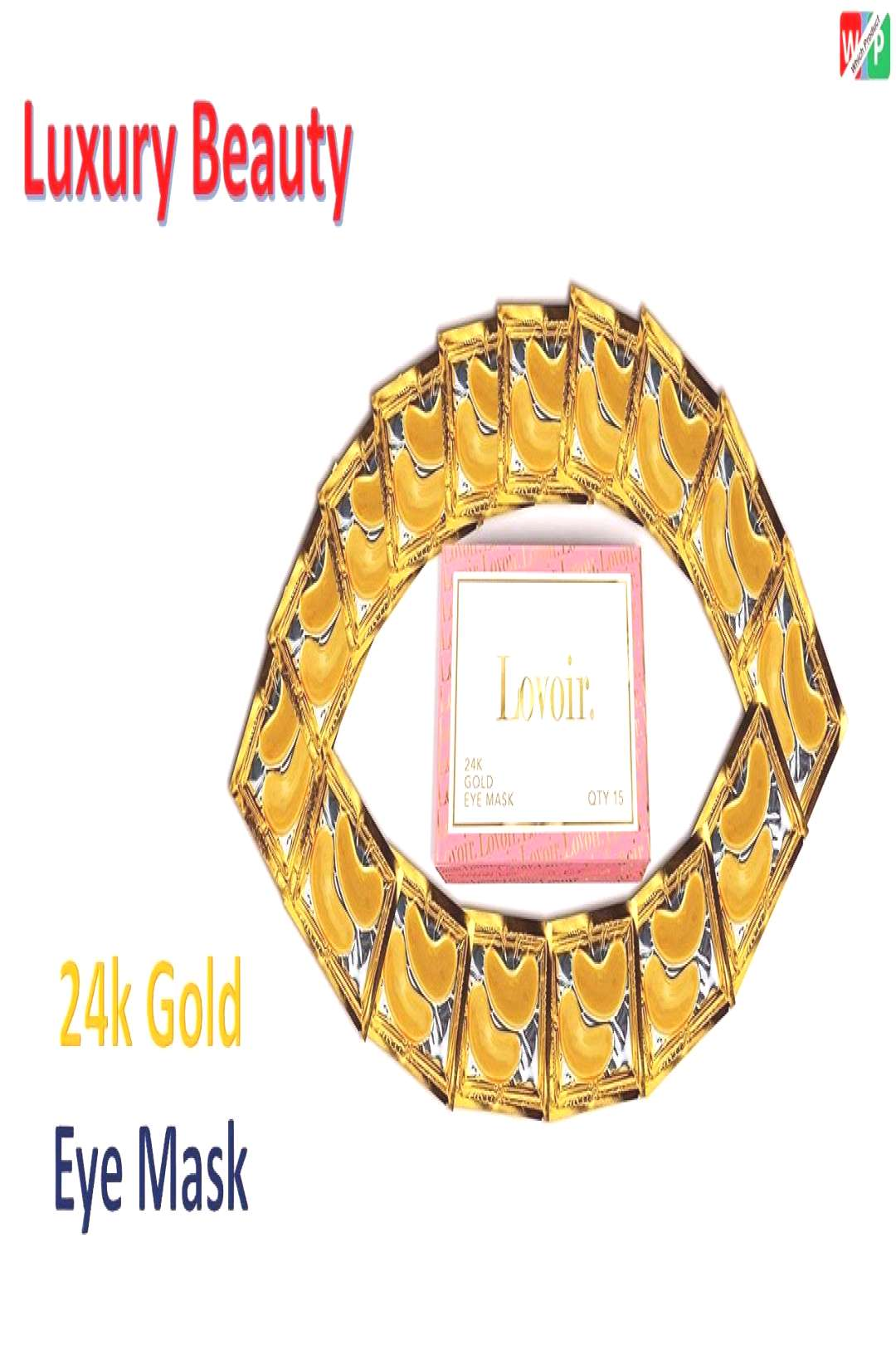 24k Gold Eye Mask - with Collagen by Lovoir (15 Pairs), Under Eye Mask Treatment for Puffy Eyes, -