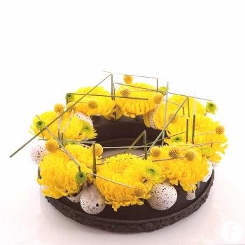 A cool Easter design with the bright yellow new disbudded Chrysanthemum. Definitely in this Easter