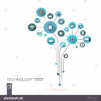 Abstract technology background with lines, connected circles, integrated flat icons. Growth flower