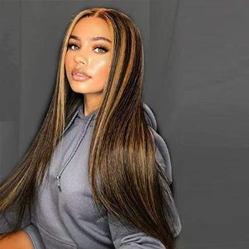 AISI QUEENS Long Straight Highlights Wig 24 Inch Synthetic