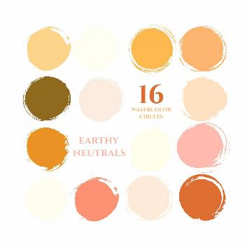 autumn fall colors instagram story highlight icons earthy neutrals watercolor circles clipart gold