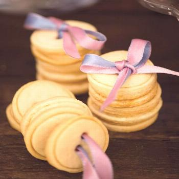 Button cookies...and wrapped together with ribbon through button holes! Cinderella party