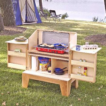 Camp Kitchen Woodworking Plan from WOOD Magazine LUV it!  Deer hunting stepped up a notch.