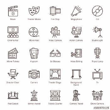 Cinematography and Photography Line Icons Pack ,