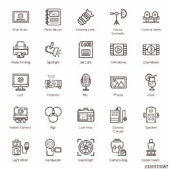 Cinematography Equipment Line Icons Pack ,