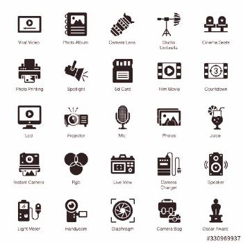 Cinematography Equipment Solid Icons Pack ,