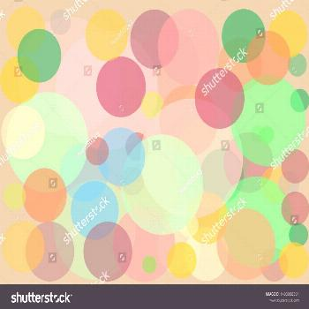 Circles small and large, many colors ,