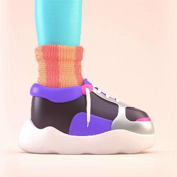 Dad's sock By Pablo Vargas, Zbrush and Cinema 4D, Uv mapping on the sock, more works in /pa-var