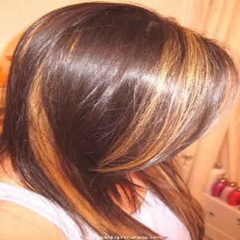 Dark brown with chunky highlights