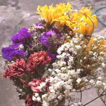 Dried flower bouquet, mixed chrysanthemums, carnations, baby's breath, rustic decor, flowers gift