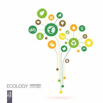 Ecology abstract background with connected circles integrated flat icons. Growth concept of fl -  E
