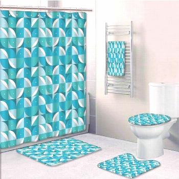 Fractal Abstract Forms with Half Circles Triangles Aqua Sky 5 Pcs Bath#abstract