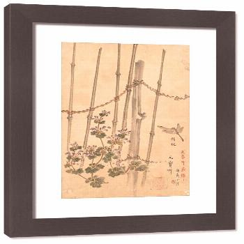 Framed Print-Bamboo Fence and Chrysanthemums, c. 1890. Creator: Kono Bairei (Japanese, 1844-1895)-3