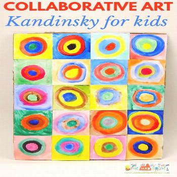 Kandinsky for kids – concentric circles in squares - Kandinsky for kids – concentric circles in