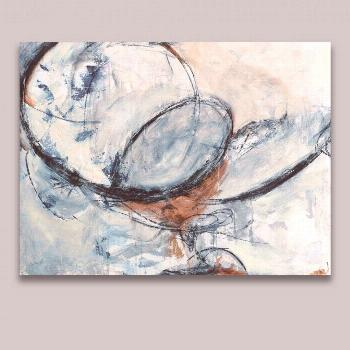Modern Wall Art oil Painting on Canvas Free Shipping Abstract Blue Color Circles Design Oil Paintin