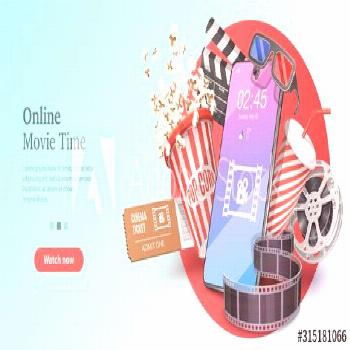 Online Movie Time, Mobile Movie Theater, Cinematography and Filmmaking, Ticket Ordering. Vector Tem