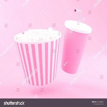 Popcorn and drink. Cinematography concept. 3d renderer illustration. ,