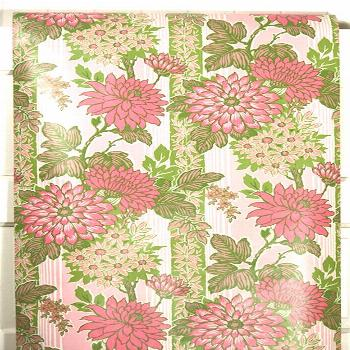Retro Wallpaper by the Yard 70s Vintage Wallpaper - 1970s Pink Chrysanthemums and Daisies with Gree