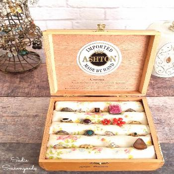 Ring holder made by upcycling a cigar box or vintage cigar box into wooden jewelry box or jewelry c