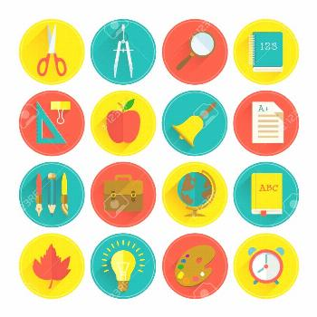 School supplies flat set in circles with long shadows on light background isolated vector illustrat