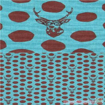 sea green echino canvas fabric stag with brown dots Sambar sea green canvas fabric with brown polka