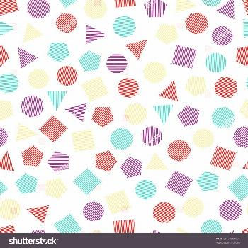 Seamless geometric pattern with multicolored squares, triangles, circles, pentagons, hexagons and h