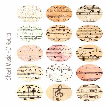 Sheet Music - 4x6 Digital Collage Sheet - 1 inch Round Circles - INSTANT DOWNLOAD -  Welcome to Old
