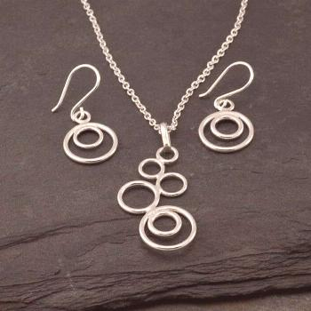 Silver Circles Necklace- Modern Artisan Pendant -Handmade Sterling Silver Necklace-