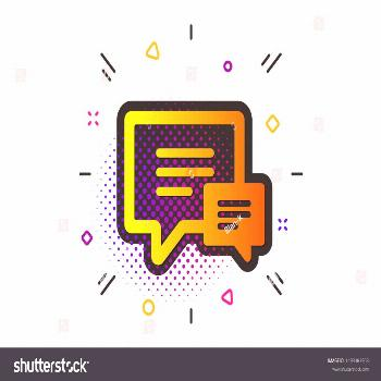 Speech bubble sign. Halftone circles pattern. Chat icon. Communication or Comment symbol. Classic f