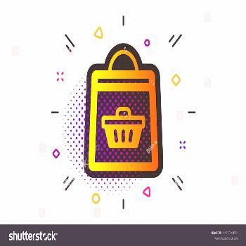 Supermarket buying sign. Halftone circles pattern. Shopping bag with cart icon. Sale symbol. Classi