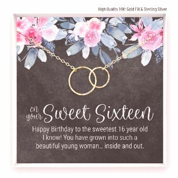Sweet 16 Gift Necklace, Sweet Sixteen Birthday, 16th Birthday Gift, Sweet 16 Jewelry, 2 Linked Circ