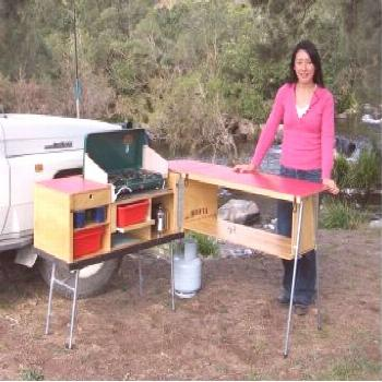 This looks like an awesome camp kitchen design. It sets up quickly, stores all your camp kitchen eq