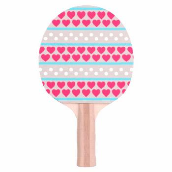 Valentine Heart And Circles Ping Pong Paddle