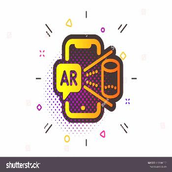 VR simulation sign. Halftone circles pattern. Augmented reality phone icon. 3d view symbol. Classic