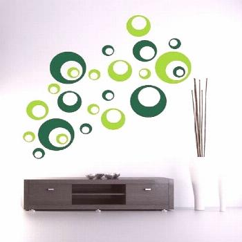 Wall decal sticker circles retro dots 23 pieces two-tone or004#circles