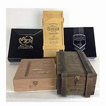 Wooden empty cigar box, pack of 5 cigar boxes, wood