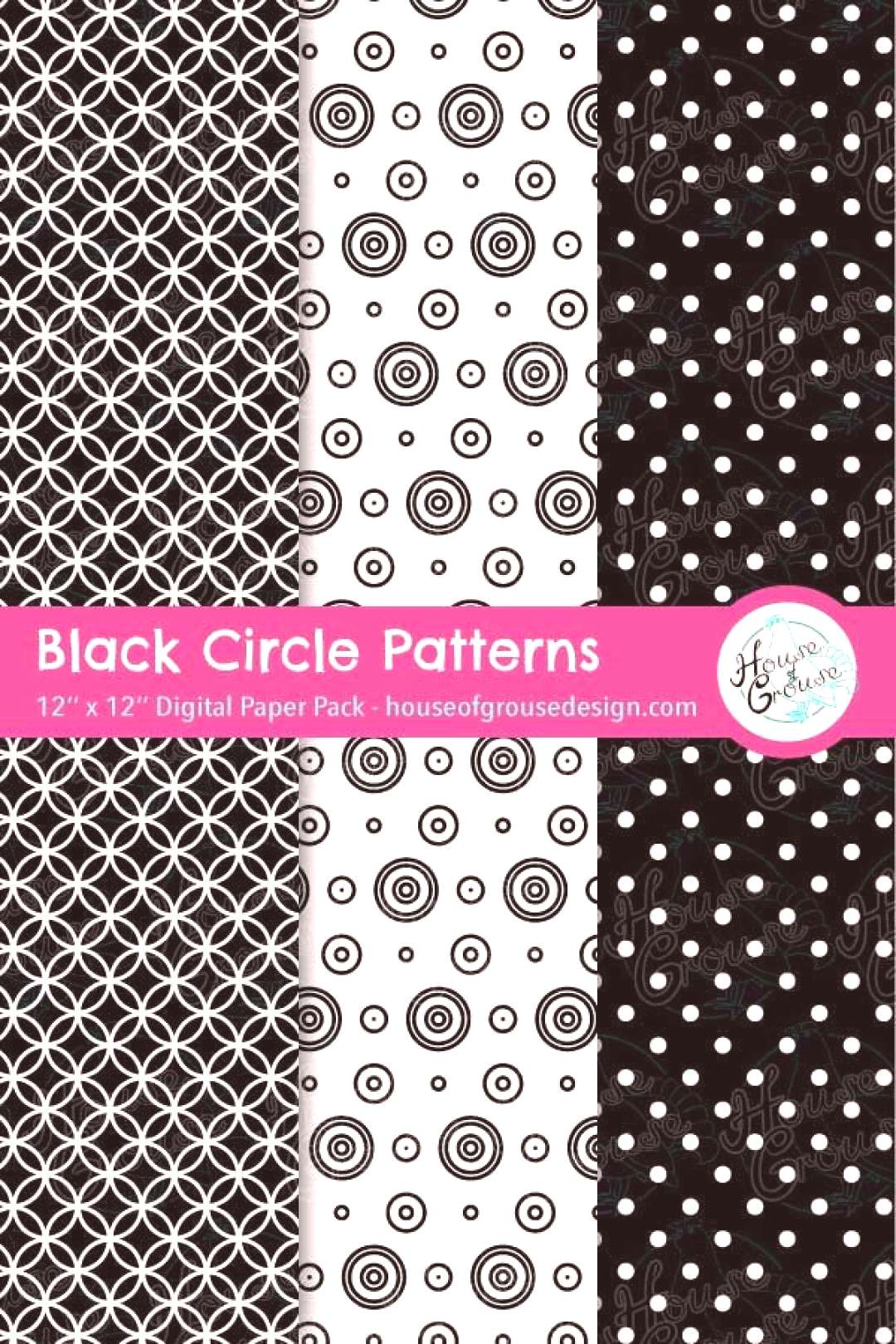 Black Circles Pattern Set Digital paper pack with Scandinavian style circular pattern designs in bl