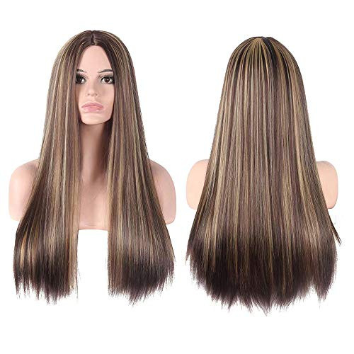 CanLux Long Straight Wig Blonde Highlight Synthetic Wig with