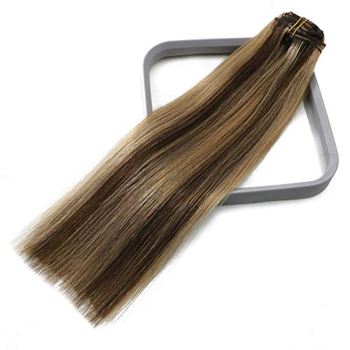 Clip In Hair Extensions Human Hair Chocolate Brown to