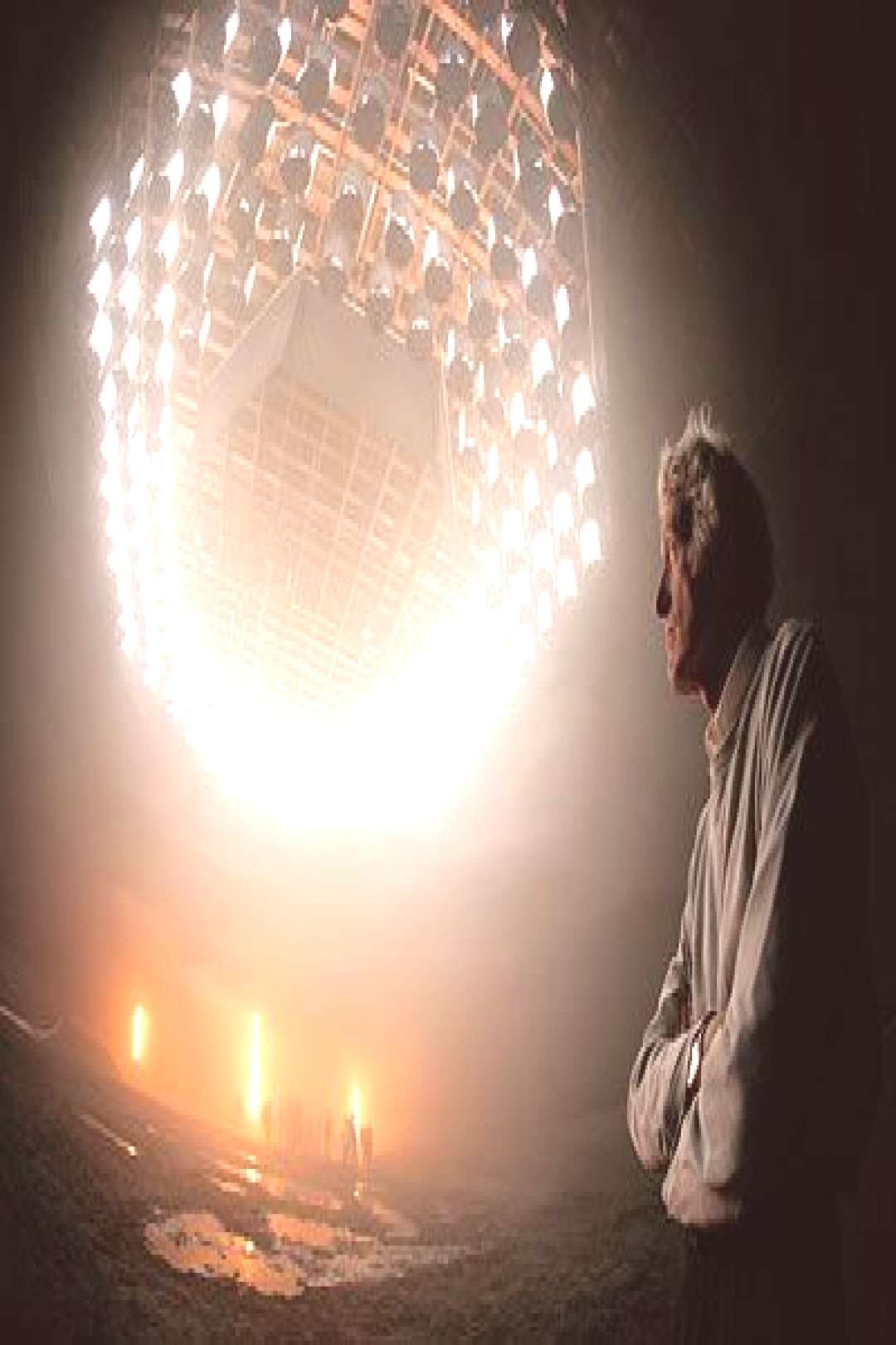 Deakins stands beneath an overhead grid of space lights in Stage 12 at Universal, where he and the