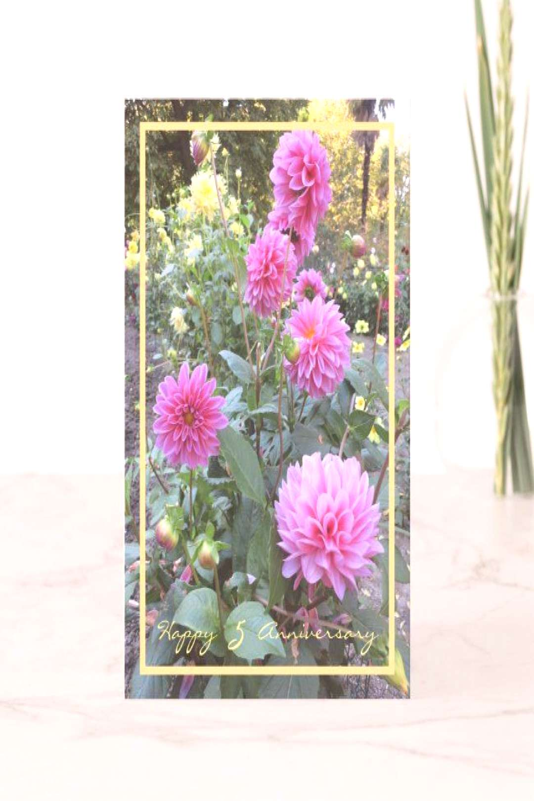 Fifth Wedding Anniversary Wishes 5 Chrysanthemums Card ,