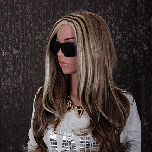 GNIMEGIL Long Wave Blonde Mixed Brown Synthetic Wig for