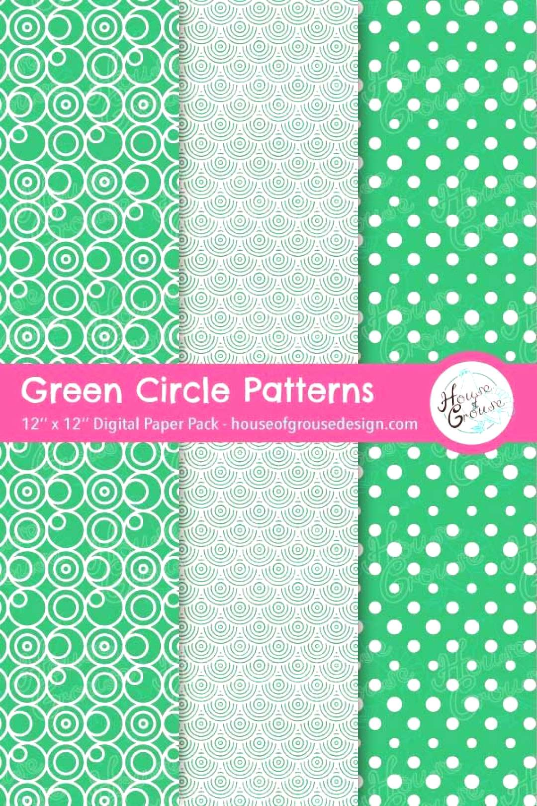 Green Circles Pattern Set Decorative printable backgrounds for scrapbooks, journals, diy greeting c