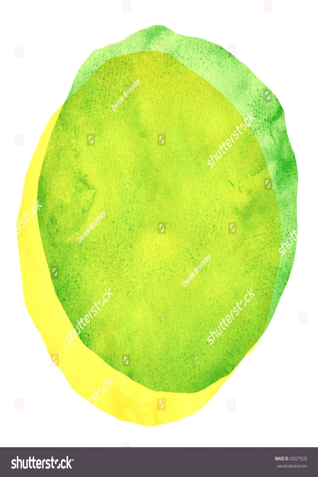 Green, Yellow Watercolor painted overlapping circles ,