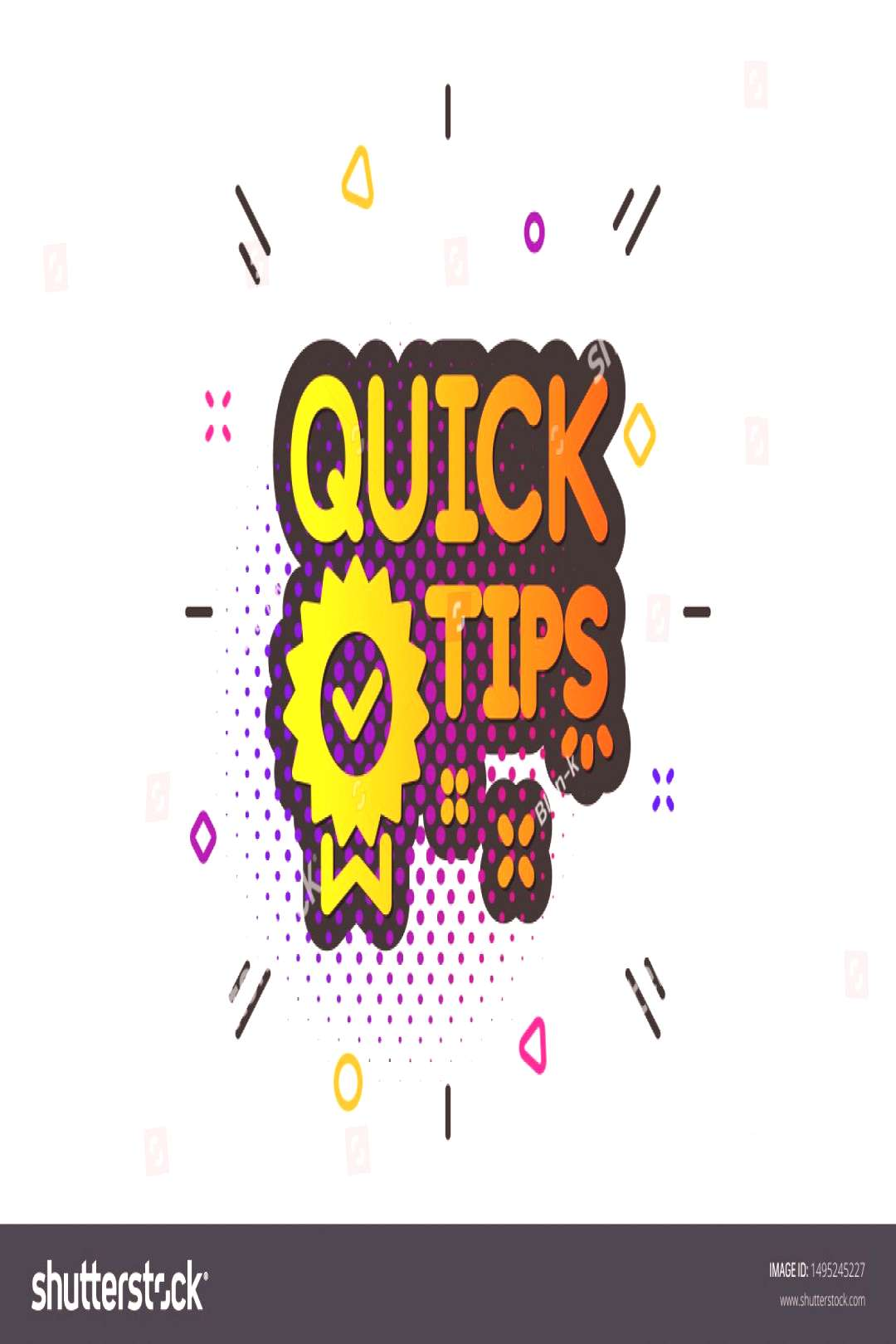 Helpful tricks sign. Halftone circles pattern. Quick tips icon. Tutorials with award medal symbol.