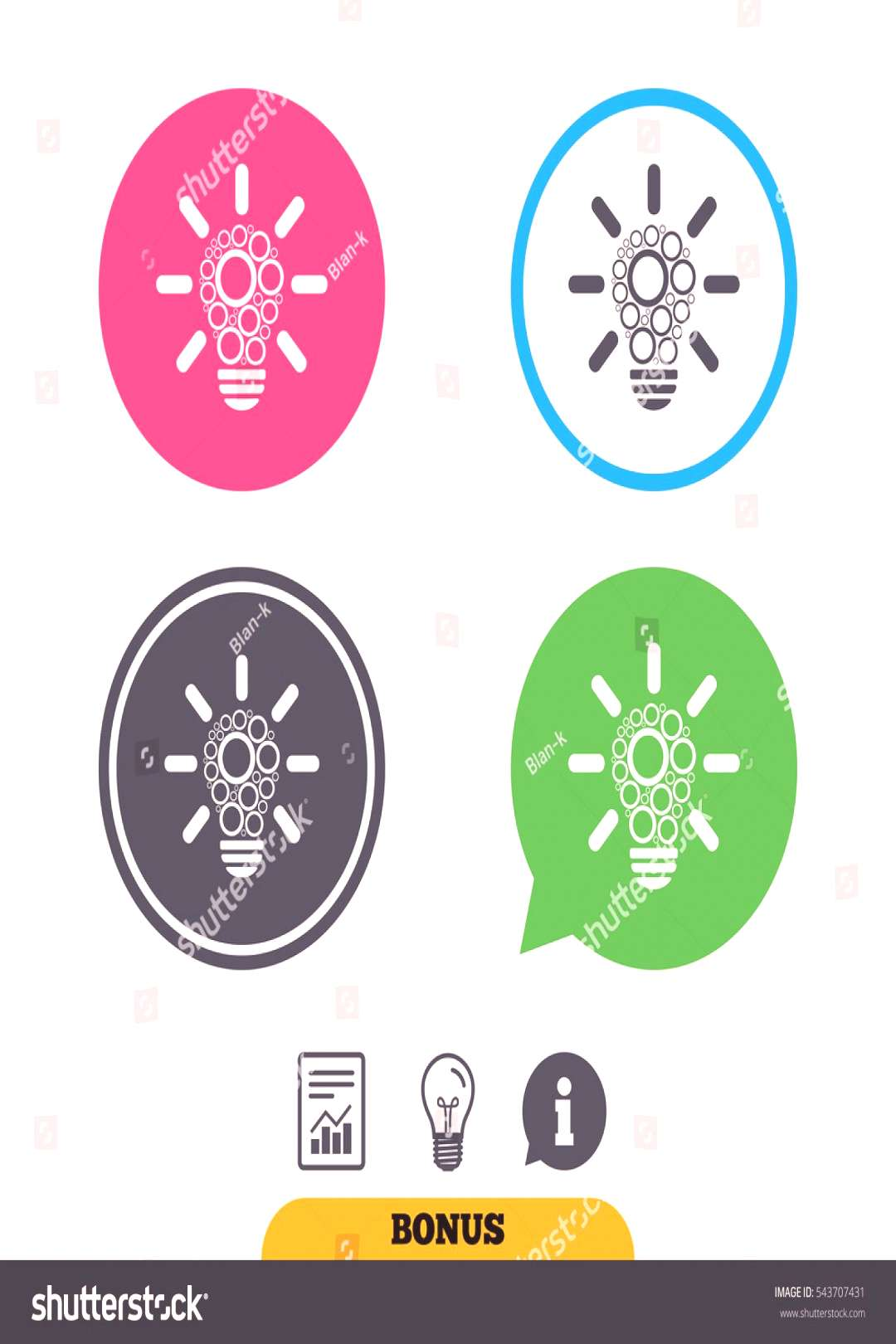 Light lamp sign icon. Bulb with circles symbol. Idea symbol. Report document, information sign and
