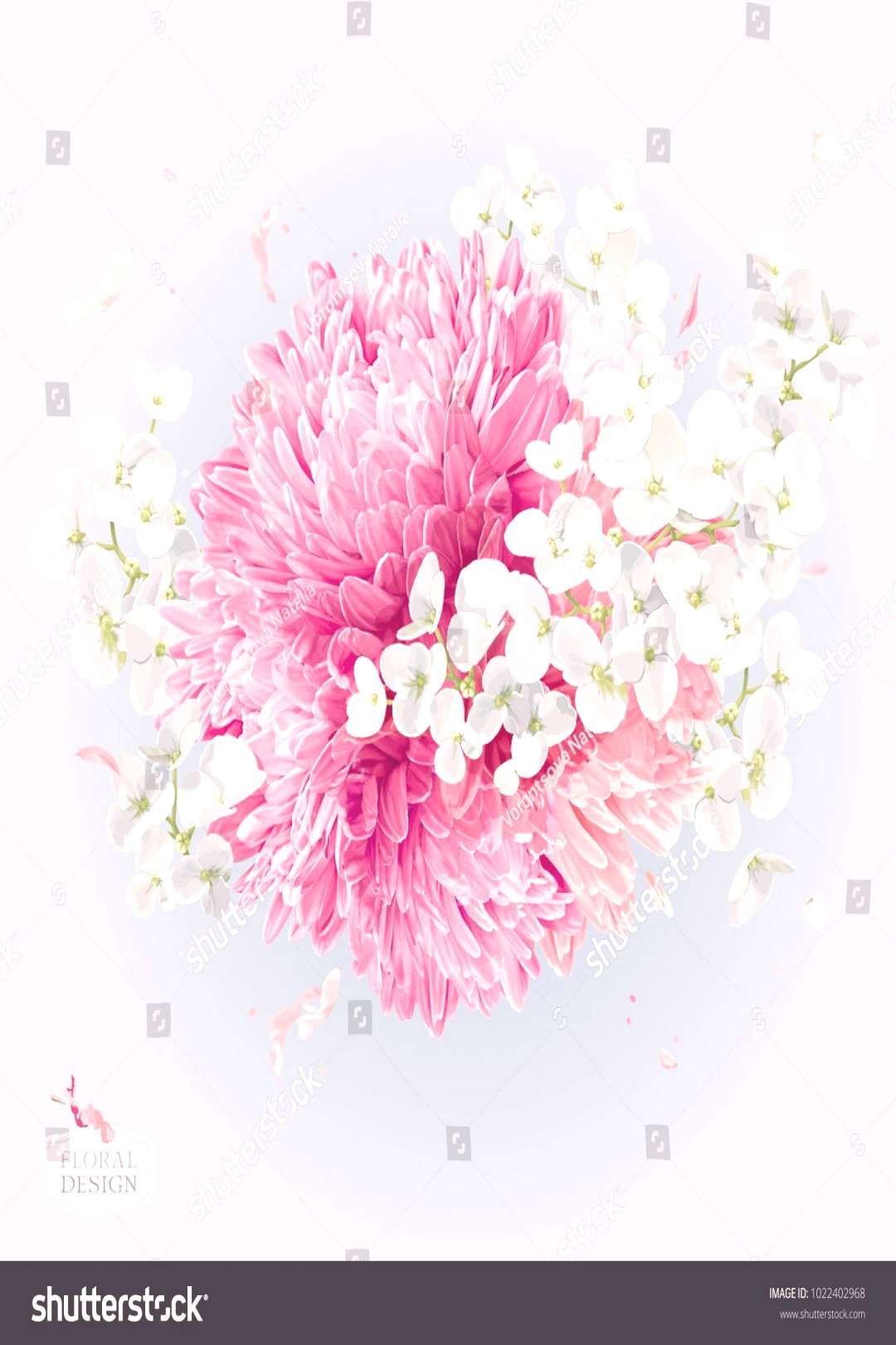 Modern floral vector art - luxurious Chrysanthemums and Apple blossom round arrangement in watercol