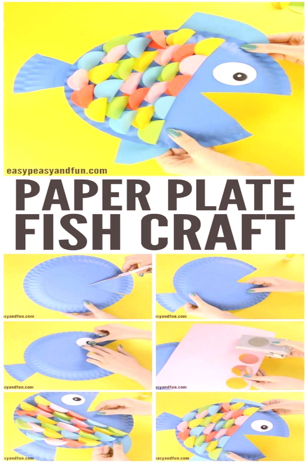 Paper Plate Fish Craft - Rainbow Paper Circles - Easy Peasy and Fun -