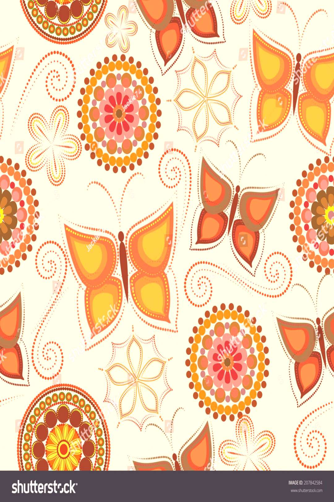 Seamless butterflies and circles pattern in vector. ,