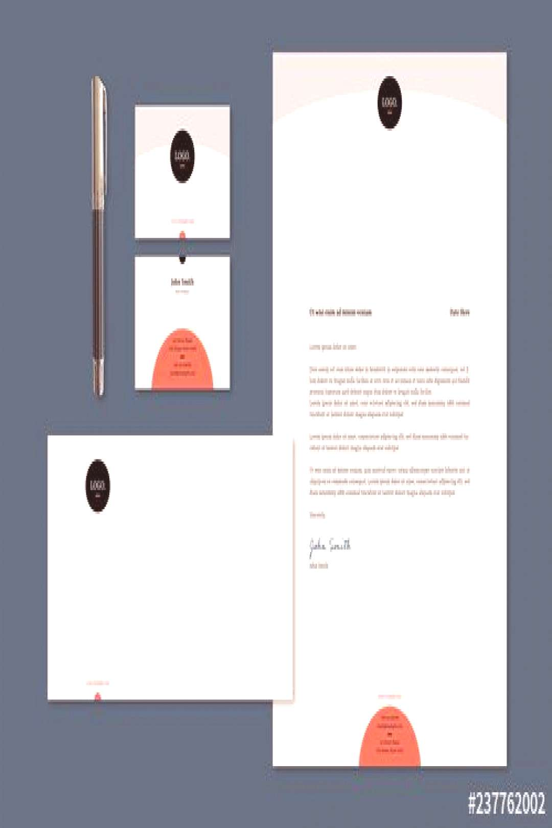 Stationery Set Layout with Circles ,